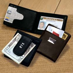 Personalized Genuine Leather Money Clip Wallet - Groomsmen Gift