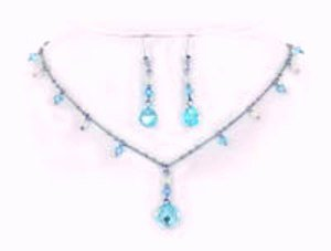 Aqua AB Swarovksi Crystal Necklace and Earrings Set.