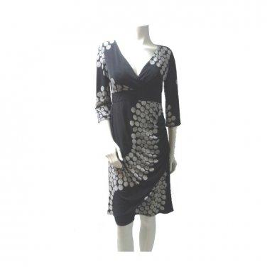 Black and White Geometric Polka Dot Wrap Dress