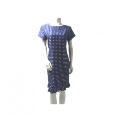 Blue and White Polka Dot Silk Shift Dress, Ruffle Hem