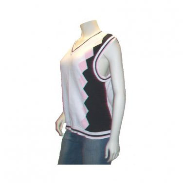 Argyle Cardigan Sweater Vest, Navy, Pink and White, Size L