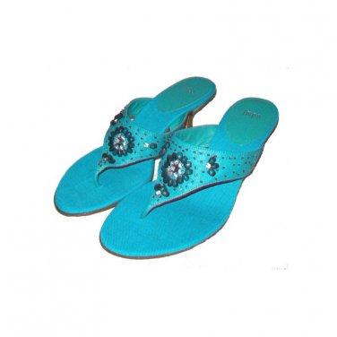 Turquoise Beaded and Rhinestone Slip On Sandals, Kitten Heels, Size 9