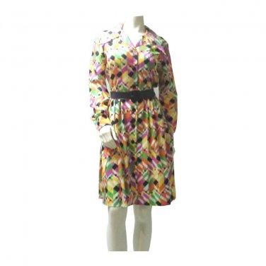 Vintage 70s Print Belted Shirt Dress