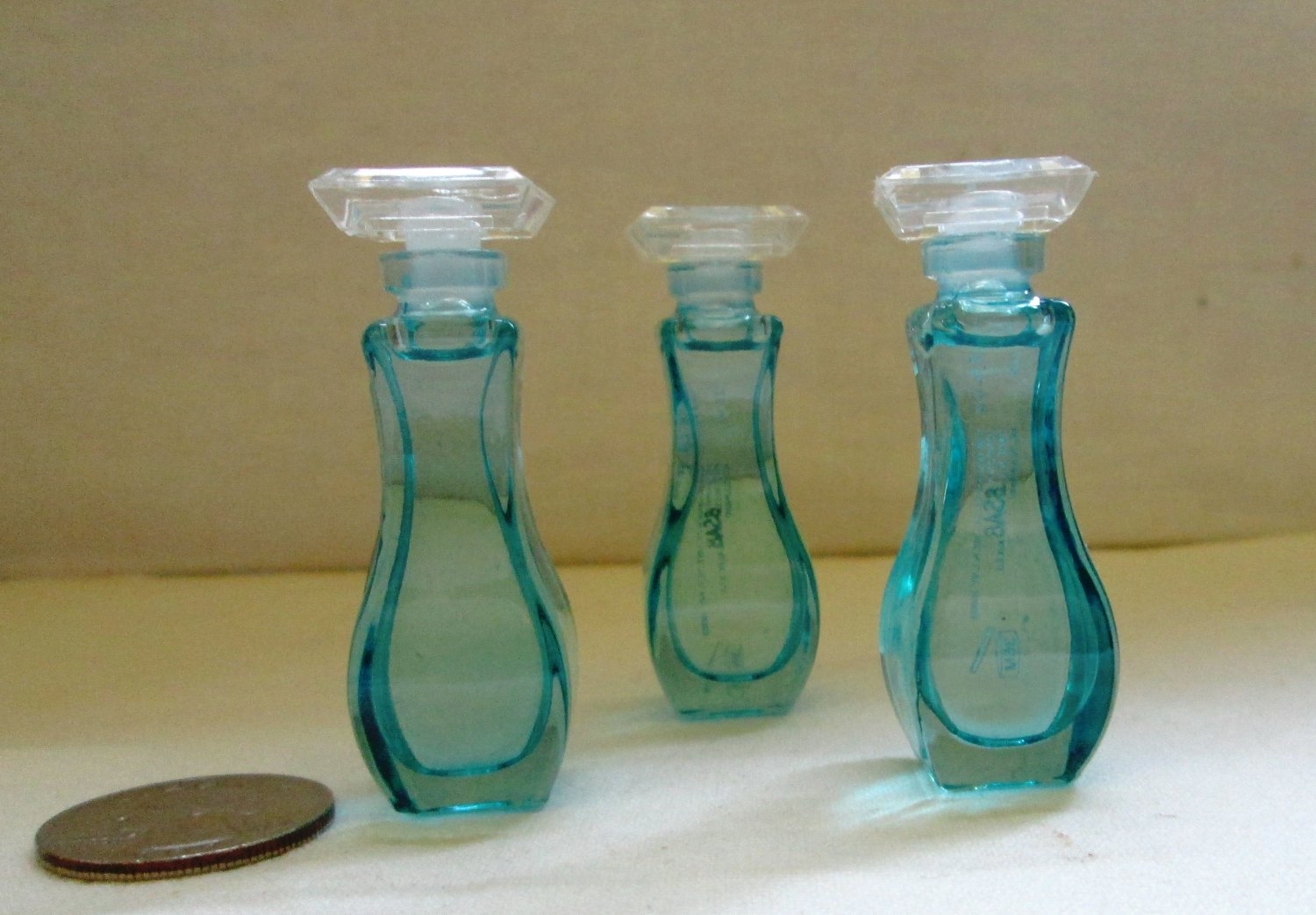 3 Giorgio Beverly Hills BLUE Glass MINI's .13 oz  Free Shipping