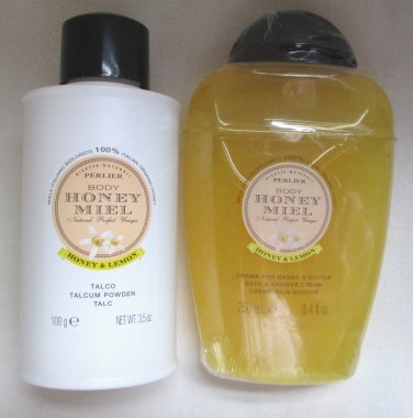 Lot of 2 Perlier HONEY & LEMON, Perfumed Body Powder 3.5 oz & 8.4 oz Bath Cream