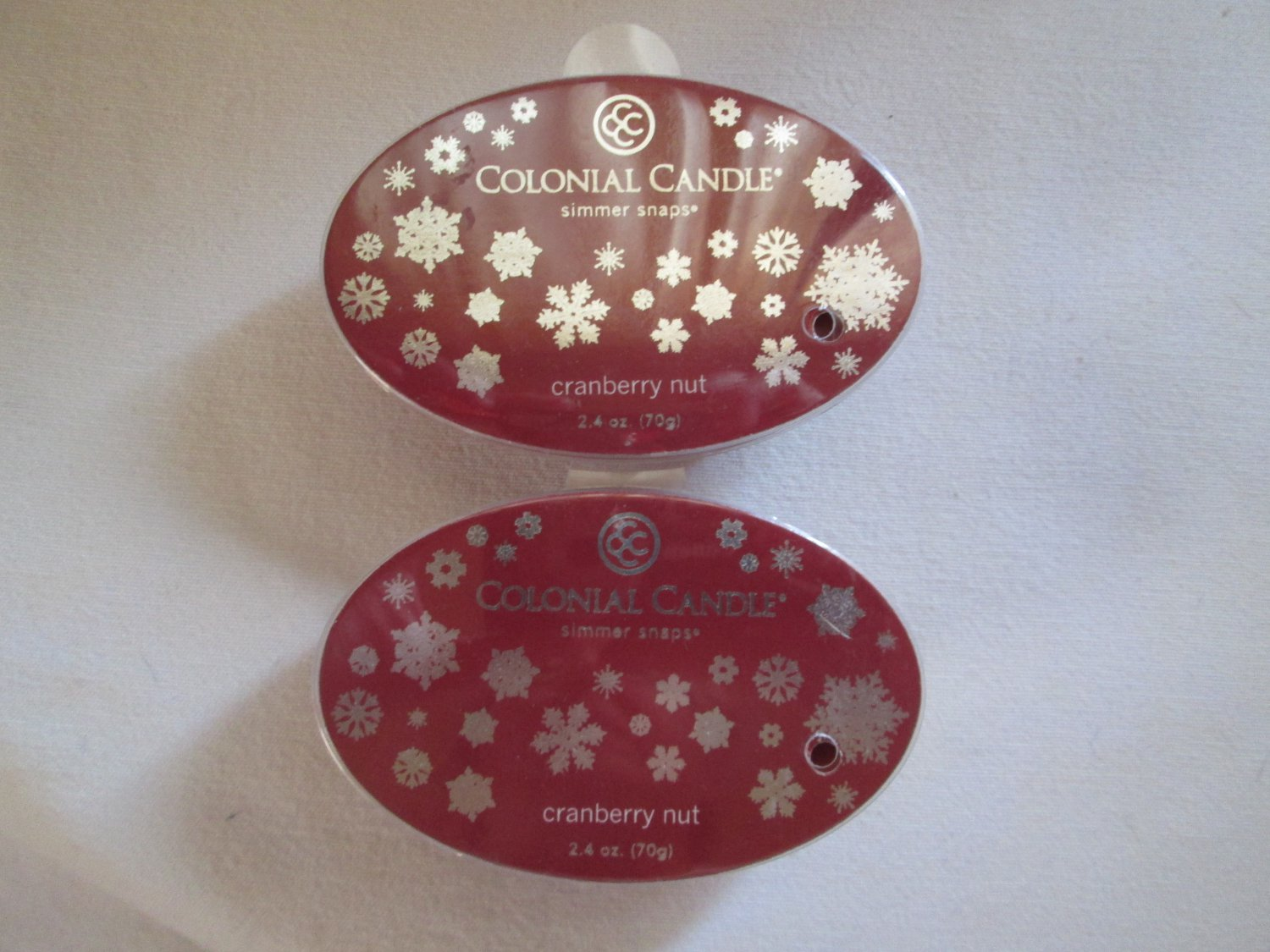 """2 Colonial Candle Simmer Snaps""""CRANBERRY NUT"""" 2.4 oz wax melts/ tarts"""