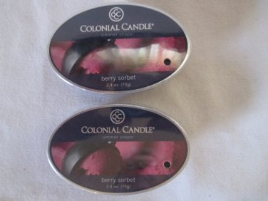 "2 Colonial Candle Simmer Snaps""BERRY SORBET""2.4 oz wax melts/ tarts"