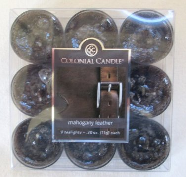 Colonial Candle ~~MAHOGANY LEATHER~~ Tea Lights 9/ pack New
