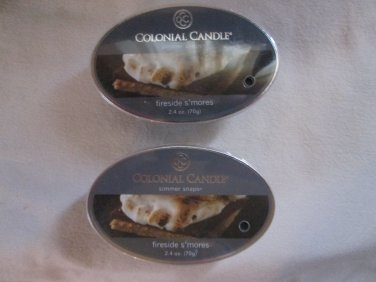 2 Colonial Candle Simmer Snaps~FIRESIDE S'MORES~ 2.4 oz wax melts/ tarts