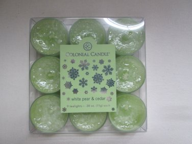 Colonial Candle ~~WHITE PEAR & CEDAR~~ Tea Lights 9/ pack New Google