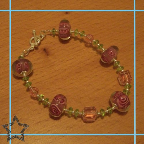 Rose Lampwork Beads with Peridot and Austrian Crystals Toggle Bracelet