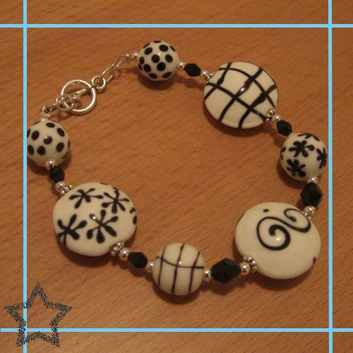 Black/White Beads with Jet Crystals Toggle Bracelet