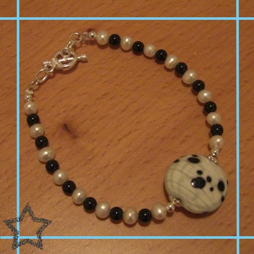 Black Paw Print with White Fresh Water Pearls and Black Onyx Single Bead Toggle Bracelet