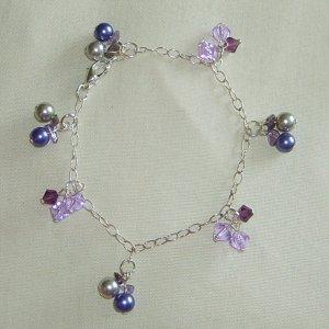 pearls & crystals bracelet (purple)