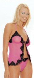 2 Piece Mesh Babydoll Neon Pink