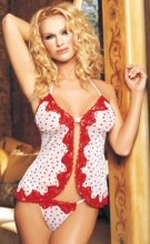 Flocked Hearts Mesh Babydoll & G-String Set w/Sequins