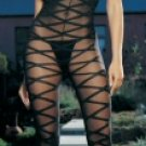 Sheer Criss Cross Open Crotch Bodystocking