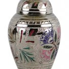 Small Size Keepsake Memorial Lattice Floral Cremation Urn For Ashe With Velvet Box