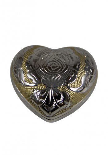 Heart Keepsake Golden Rose Funeral Brass Urn