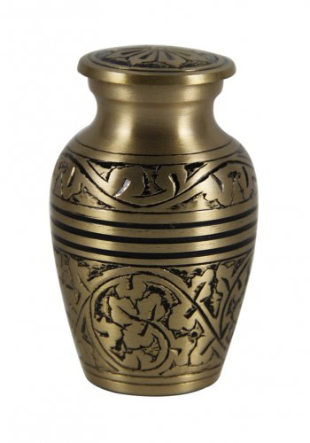 Small Size Natural Gold Color Keepsake Memorial Urn For Ashes With Velvet Box