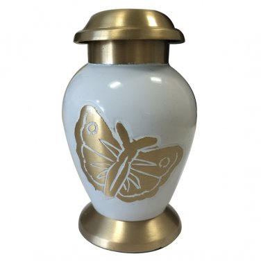 Butterfly Funeral Keepsake Gold Color Urn