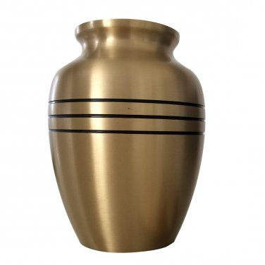 Big Size Classic Three Bands Child Cremation Memorial Urn in Gold Color For Baby Ashes