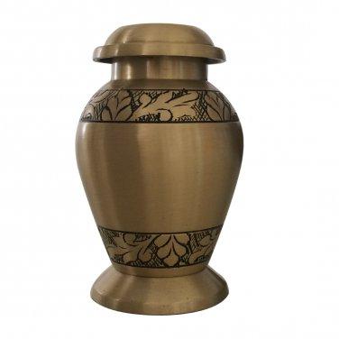 Engraved Brushed Brass Keepsake Cremation Urn