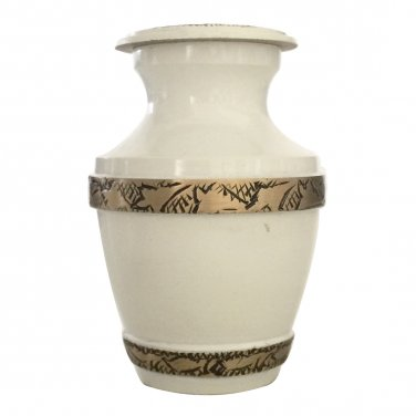 Majestic Pearl White Keepsake Urns, Cremation Memorial Urn