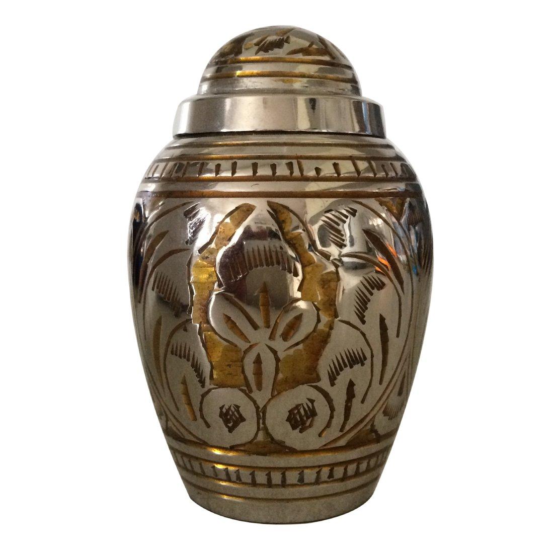 Dome Top Gold Color Leaf Keepsake Urn