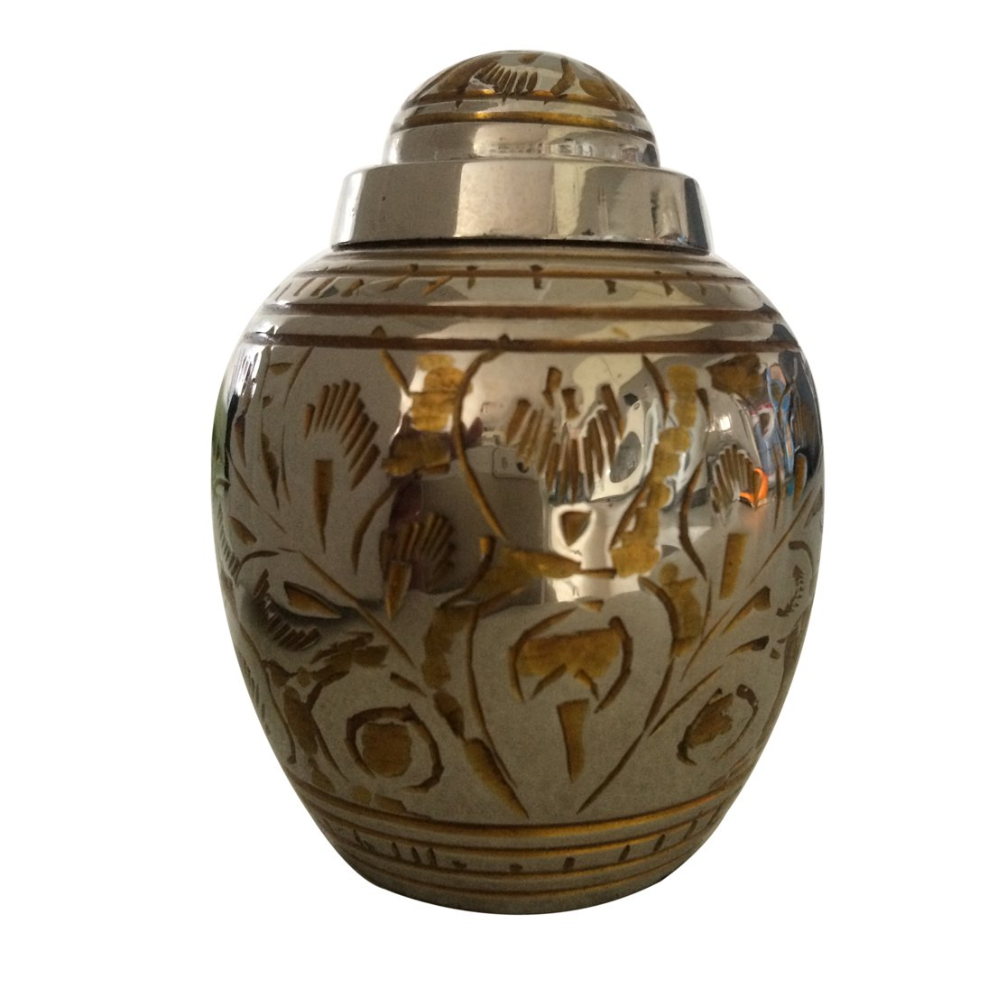 Gold Color Flower Dome Top Keepsake Urn