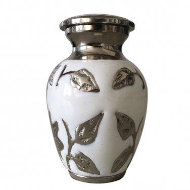 Black & White Flower Cremation Brass Urn