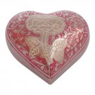 Silver Rose Engraved Pink Small Heart Cremation Urn Ashes, Flower Heart Urns