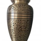 "Antique Nickel Engraved 7"" Cremation Urn for Ashes, Medium Urns Ashes"