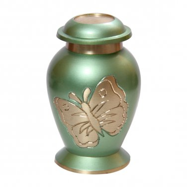 Lite Teal Butterfly Keepsake Urn Ashes, Cremation Memorial Urns