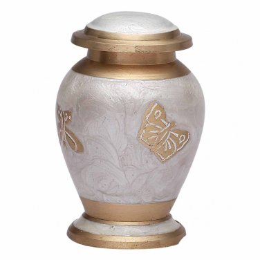 Mini Butterflies Pearl White Keepsake Urn for Ashes, Brass Cremation Memorial Urn USA