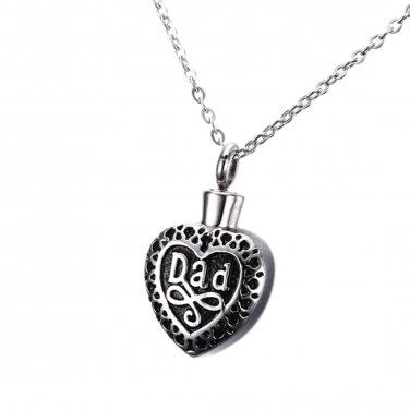 Dad in My Heart Jewelry Keepsake Cremation Memorial Urn Necklace Pendant