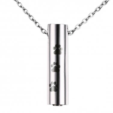 Stainless Steel Paw Print Cremation Jewelry Pendant - Pet Memorial Keepsake Urn for Ashes