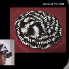 Hand Crocheted - Black and White Large Hat