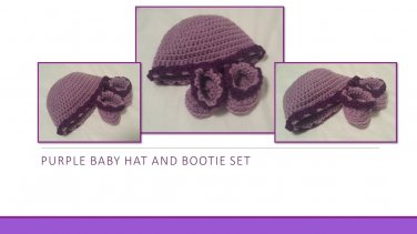 Hand Crocheted Purple Baby Hat and Bootie Set