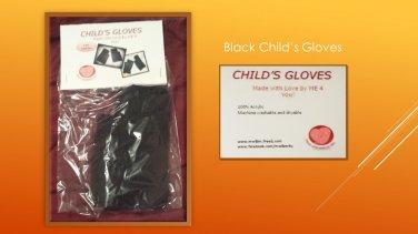 Hand Crocheted Black Child's Small Fingerless Gloves