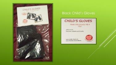Hand Crocheted Child's Medium Black Fingerless Gloves