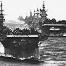 New 5x7 World War II Photo: Aircraft Carrier Group after Action in Philippines