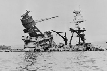 New 5x7 World War II Photo: USS Arizona Destroyed after Pearl Harbor Attack