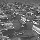 New 5x7 World War II Photo: P-47s on Flight Deck of the USS CASABLANCA, 1945