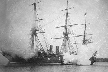 New 5x7 Civil War Photo: Guns Firing from USS PENSACOLA