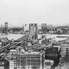 New 5x7 Photo: View of Brooklyn Bridge & Manhattan Bridge in 1919, New York City