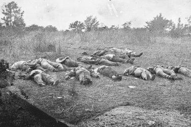 New 5x7 Civil War Photo: Dead Near the Rose Farm Orchard, Gettysburg Battle