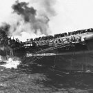 New 5x7 World War II Photo: USS FRANKLIN Lists after Dive Bomber Attack, 1945