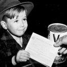 New 5x7 World War II Photo: Young Boy Uses War Rationing Book, 1943