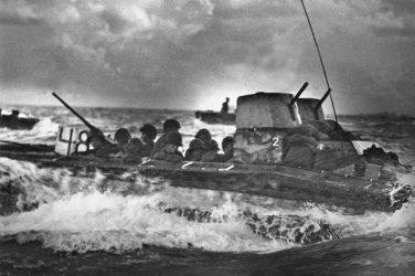 New 5x7 World War II Photo: Marines in Water Buffalo Head to Tinian Island